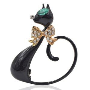 Enamel Lucky Black Cat Brooch